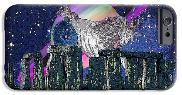 Constellations iPhone Cases - Saturn Capricorn Winter Solstice Stonehenge iPhone Case by Michele  Avanti