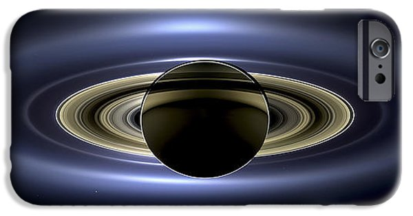 Spacecraft iPhone Cases - Saturn Mosaic with Earth iPhone Case by Adam Romanowicz