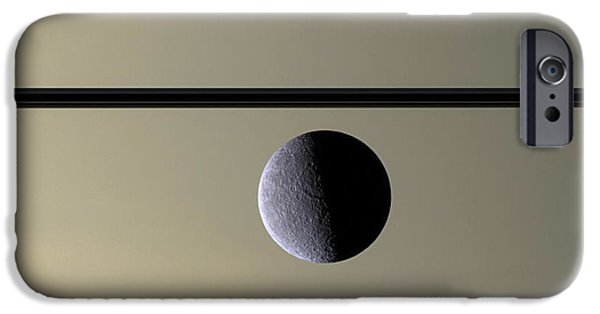 Stellar iPhone Cases - Saturn Rhea Contemporary Abstract iPhone Case by Adam Romanowicz