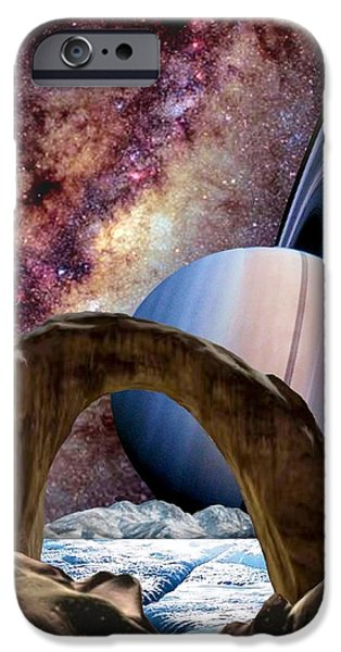 The Universe Paintings iPhone Cases - Saturn Rising iPhone Case by Ronald Chambers