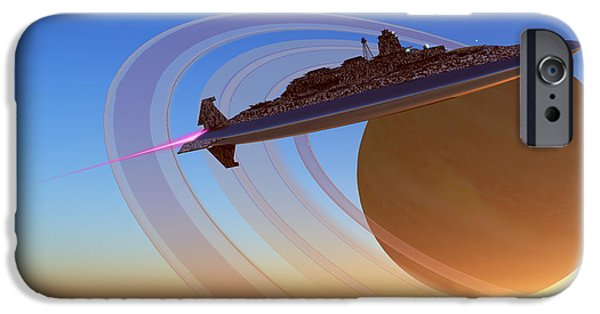 Jet Star Digital Art iPhone Cases - Saturns Moon iPhone Case by Corey Ford