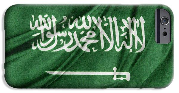 Patriotism iPhone Cases - Saudi Arabian flag iPhone Case by Les Cunliffe