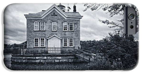 Hudson River iPhone Cases - Saugerties Lighthouse BW iPhone Case by Joan Carroll