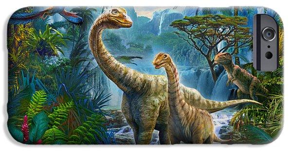 T Rex iPhone Cases - Sauropods II iPhone Case by Jan Patrik Krasny