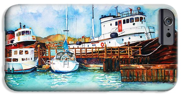 Sausalito Paintings iPhone Cases - Sausalito Bay iPhone Case by Richelle Siska