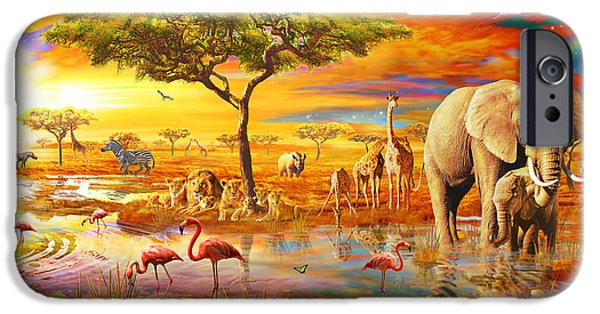 Coloured Photographs iPhone Cases - Savanna Pool iPhone Case by Adrian Chesterman