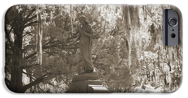 Savannah iPhone Cases - Savannah Bonaventure Cemetery Sepia Angel Monument With Hanging Spanish Moss iPhone Case by Kathy Fornal