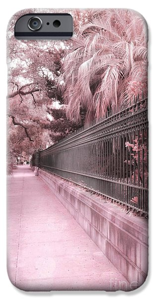 Print Photographs iPhone Cases - Savannah Dreamy Pink Rod Iron Gate Fence Architecture Street With Palm Trees  iPhone Case by Kathy Fornal