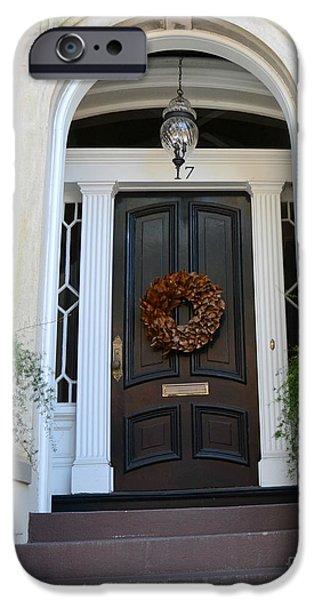 Savannah iPhone Cases - Savannah Georgia Door Architecture - Savannah Victorian Homes Doors  iPhone Case by Kathy Fornal