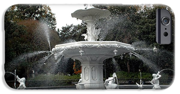 Park Scene iPhone Cases - Savannah Georgia Forsythe Fountain - Forsythe Fountain Square Dreamy Landscape  iPhone Case by Kathy Fornal
