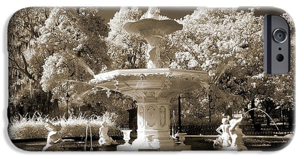 Garden Scene iPhone Cases - Savannah Georgia Fountain - Forsyth Fountain - Infrared Sepia Landscape iPhone Case by Kathy Fornal