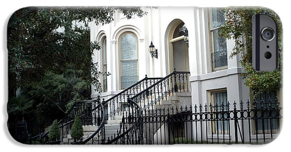 The South iPhone Cases - Savannah Georgia Historical District Victorian Homes Architecture - Savannah Mansions iPhone Case by Kathy Fornal