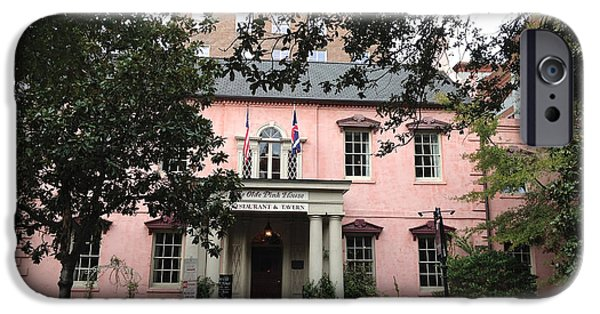 The South iPhone Cases - Savannah Georgia The Olde Pink House Restaurant - Historical Southern Pink Building Architecture iPhone Case by Kathy Fornal