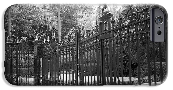 The South iPhone Cases - Savannah Mansions Black and White Rod Iron Gate - Savannah Black Gate Architecture iPhone Case by Kathy Fornal