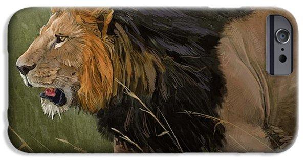 Lion Digital Art iPhone Cases - Savannah Patrol iPhone Case by Aaron Blaise