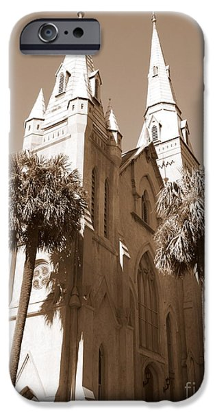 Savannah iPhone Cases - Savannah Sepia - Methodist Church iPhone Case by Carol Groenen