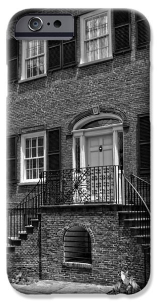District Columbia Photographs iPhone Cases - Savannahs Davenport House in Black and White iPhone Case by Greg and Chrystal Mimbs