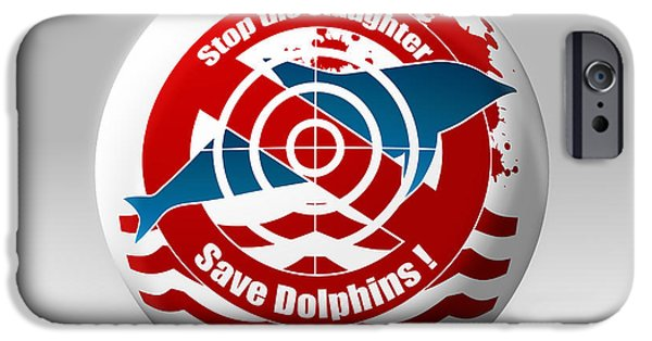 Porpoise iPhone Cases - Save Dolphins iPhone Case by Stefano Senise