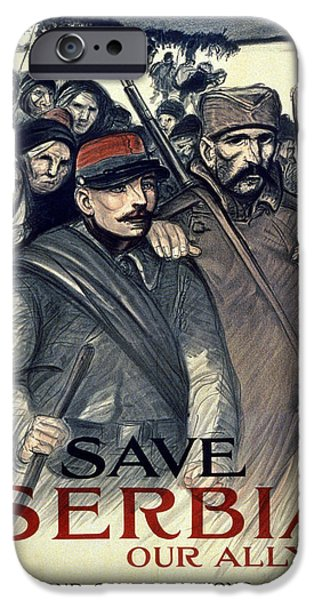 Wwi Drawings iPhone Cases - Save Serbia Our Ally iPhone Case by Theophile Alexandre Steinlen