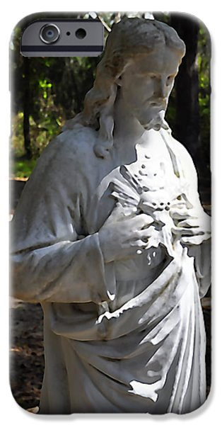 Christian Artwork Digital Art iPhone Cases - Savior Statue iPhone Case by Al Powell Photography USA