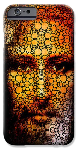 Savior - Stone Rock'd Jesus Art By Sharon Cummings iPhone Case by Sharon Cummings