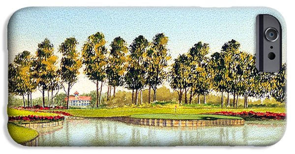The Tiger Paintings iPhone Cases - Sawgrass 17Th Hole iPhone Case by Bill Holkham