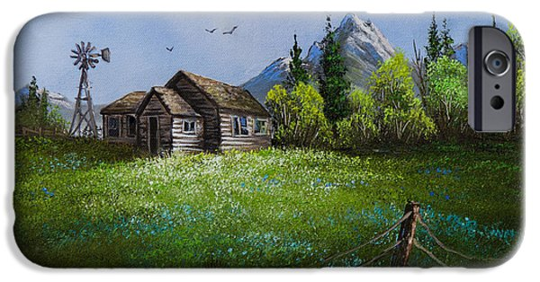 Bob Ross Paintings iPhone Cases - Sawtooth Mountain Homestead iPhone Case by C Steele