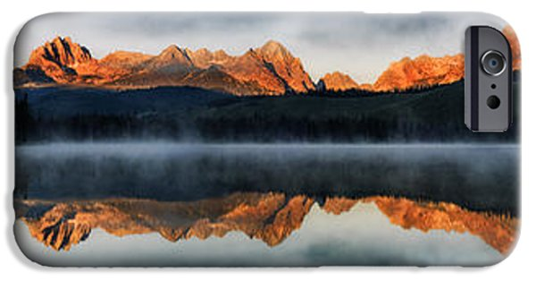 Reflections Of Sun In Water iPhone Cases - Sawtooth mountain range Panorama iPhone Case by Vishwanath Bhat