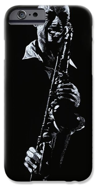 Music Pastels iPhone Cases - Sax Player iPhone Case by Richard Young