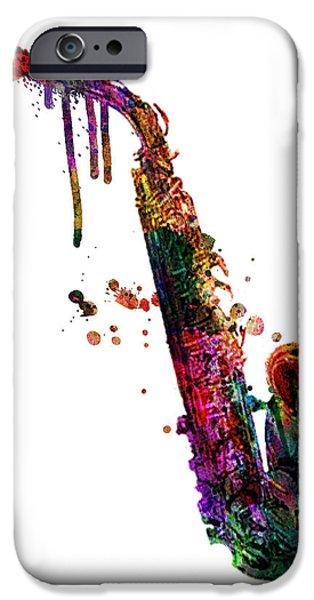 Animation iPhone Cases - Saxophone 2 iPhone Case by Mark Ashkenazi