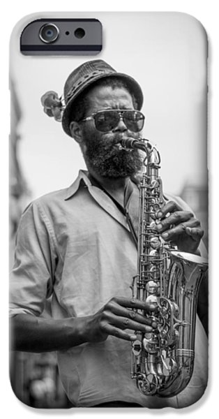 Saxophone Musician New Orleans iPhone Case by David Morefield