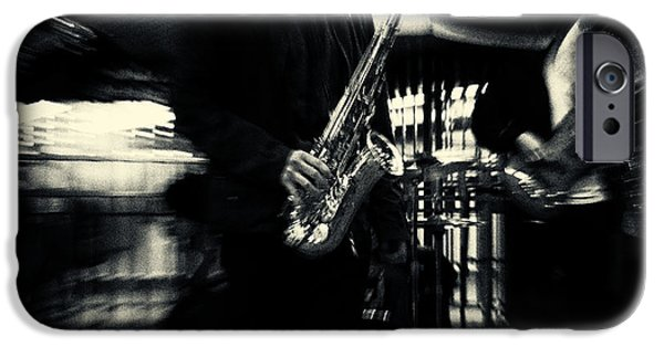 Filmnoir iPhone Cases - Saxophone Player in New York City iPhone Case by Sabine Jacobs