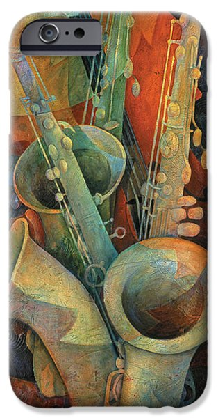 Galaxy Paintings iPhone Cases - Saxophones And Bass iPhone Case by Susanne Clark