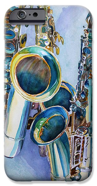 Watercolour Art iPhone Cases - Saxy Trio iPhone Case by Jenny Armitage