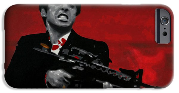 Film Paintings iPhone Cases - Say Hello To My Little Friend  iPhone Case by Luis Ludzska