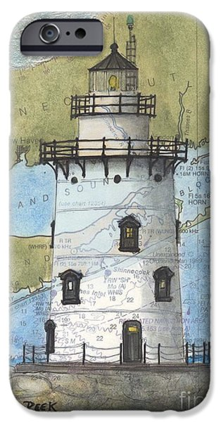 Recently Sold -  - New England Lighthouse iPhone Cases - Saybrook Lighthouse CT Chart Map Art iPhone Case by Cathy Peek