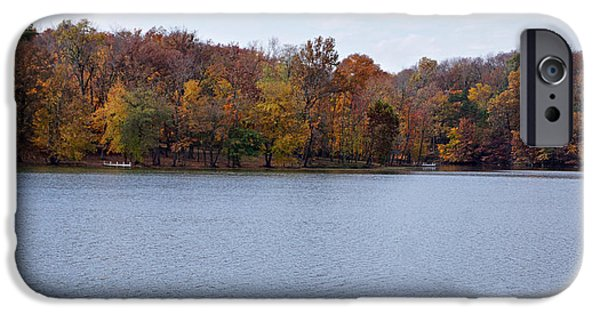 Indiana Autumn iPhone Cases - Scales Lake in Autumn iPhone Case by Sandy Keeton