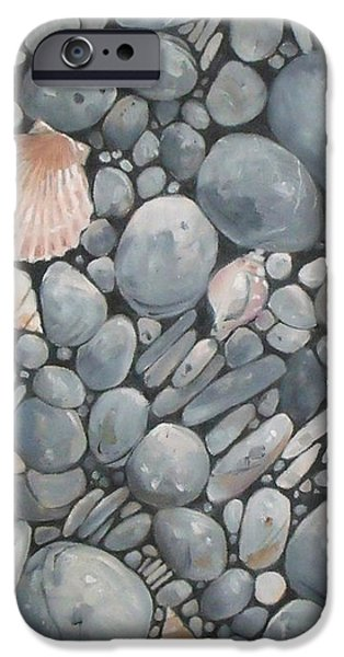Beach iPhone Cases - Scallop Shell and Black Stones iPhone Case by Mary Hubley