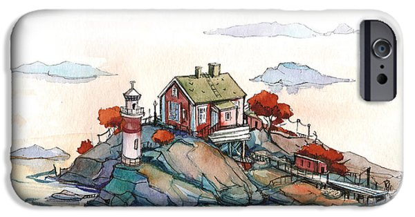 Norway Drawings iPhone Cases - Scandinavian idyll iPhone Case by Olga Aksenova