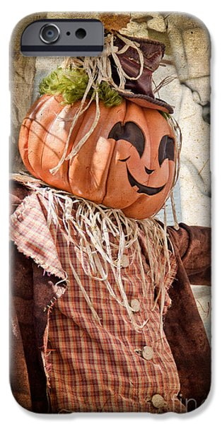 Crows iPhone Cases - Scarecrow in town iPhone Case by Delphimages Photo Creations