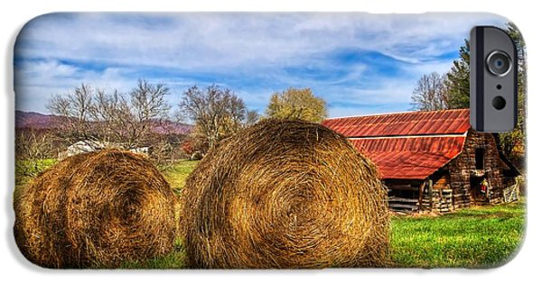 Tennessee Hay Bales iPhone Cases - Scarecrows Dream iPhone Case by Debra and Dave Vanderlaan