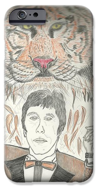 Al Pacino Drawings iPhone Cases - Al Pacino with  Tiger Drawing iPhone Case by Nicole Burrell