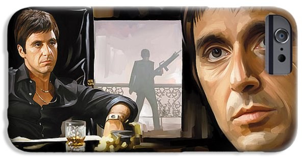 Al Pacino Mixed Media iPhone Cases - Scarface Artwork 1 iPhone Case by Sheraz A