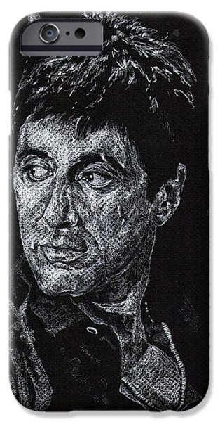 Al Pacino Drawings iPhone Cases - Scarface In White iPhone Case by Denise Thurston Newton