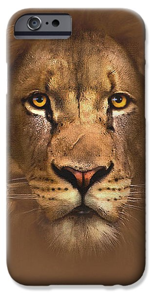 Watercolor iPhone Cases - Scarface Lion iPhone Case by Robert Foster