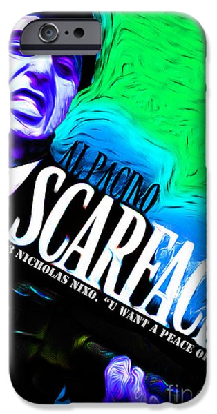 Al Pacino Mixed Media iPhone Cases - Scarface iPhone Case by Never Say Never