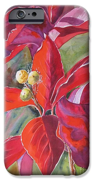 Garden Scene Paintings iPhone Cases - Scarlet iPhone Case by Mohamed Hirji