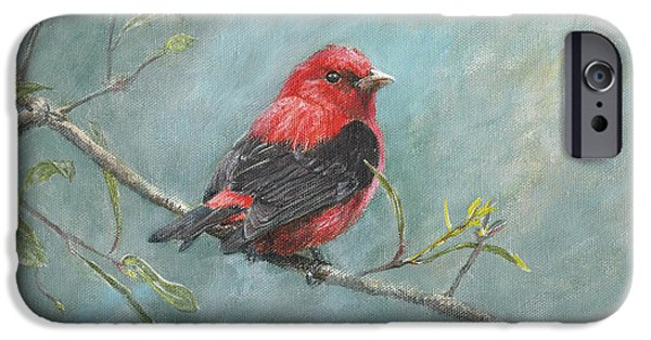 Species Paintings iPhone Cases - Scarlet Tanager iPhone Case by Rob Dreyer AFC