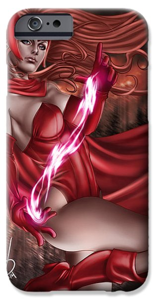 Xmen iPhone Cases - Scarlet Witch iPhone Case by Pete Tapang