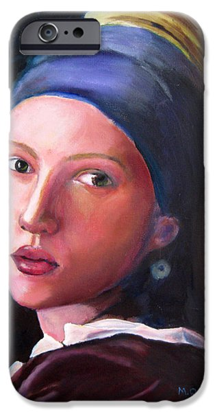 Film Maker iPhone Cases - Scarlett Johansson in Vermeers Girl with a Pearl Earring iPhone Case by Marcel Quesnel